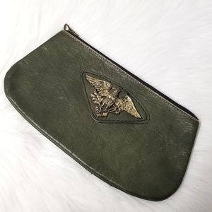 Vintage Army Green Leather Eagle Clutch Bag